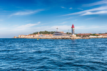 Iconic lighthouse in the harbor of Saint-Tropez, Cote d'Azur, France