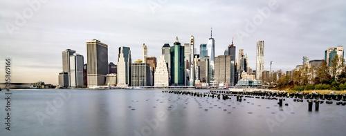new york city skyline on a cloudy day