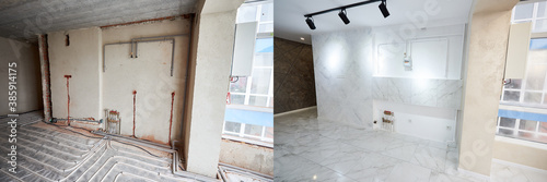 Fotografía Empty flat with marble floor before and after refurbishment