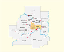 Vector Map Of The Minneapolis-Saint Paul Metropolitan Area, Minnesota, United States