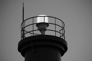 An LED light on top of a lighthouse