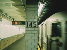 New York Subway With The Train Passing
