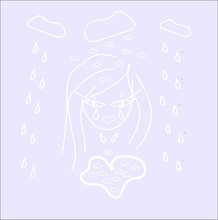 A Crying Girl Made Of White Lines On A Blue Background With White Clouds Raindrops A Heart Shaped Puddle Of Tears