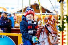 Adorable Little Kid Boy Riding...