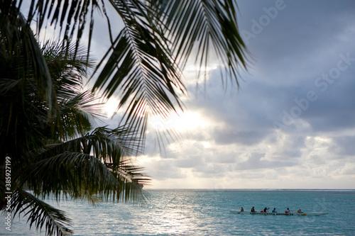 ヤシの木と海 Canvas Print