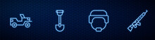Set Line Military Helmet, Jeep, Sapper Shovel And Sniper Rifle With Scope. Glowing Neon Icon On Brick Wall. Vector.