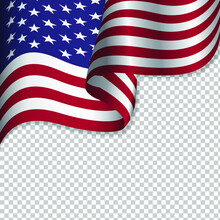 Waving Flag Of The United States Of America For Independence Day Isolated On Transparent Background