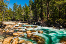Wild Merced River In The Yosemite National Park
