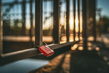Red And Rusty Metal Padlock Wi...
