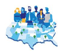 Squadra Di Uomini E Donne D'affari Davanti Alla Mappa Deglil Stati Uniti