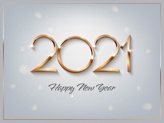 Happy new year 2021 background. Gold shining in light with sparkles abstract celebration. Greeting festive card vector illustration. Merry holiday modern poster or wallpaper design