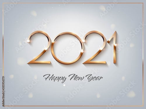 Obraz Happy new year 2021 background. Gold shining in light with sparkles abstract celebration. Greeting festive card vector illustration. Merry holiday modern poster or wallpaper design - fototapety do salonu