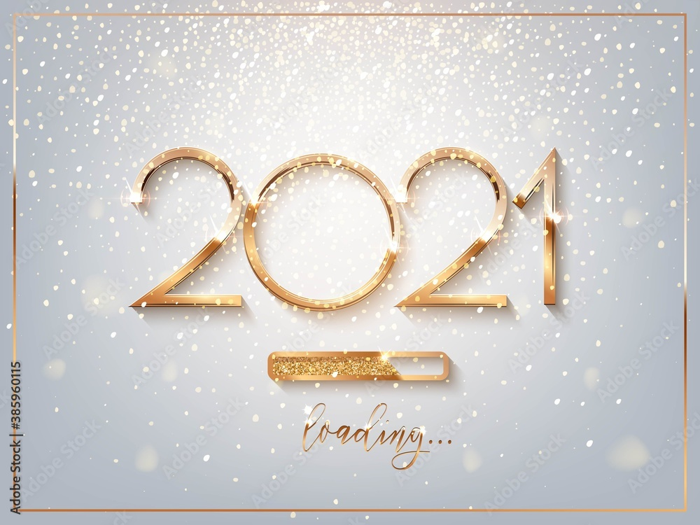 Fototapeta New Year golden loading bar vector illustration. 2021 Year progress with lettering. Party countdown, download screen. Invitation card, banner. Event, holiday expectation. Sparkling glitter background.