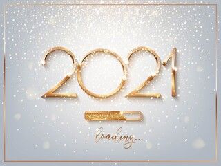 New Year golden loading bar vector illustration. 2021 Year progress with lettering. Party countdown, download screen. Invitation card, banner. Event, holiday expectation. Sparkling glitter background.