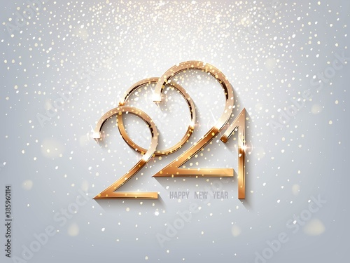 Glowing shiny golden 2021 year numbers on light sparkling background. Festive winter holiday merry Christmas decoration. Vector New Year illustration.