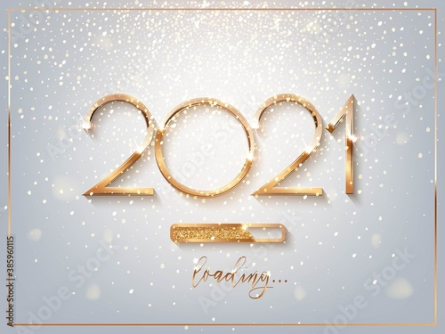Fototapeta New Year golden loading bar vector illustration. 2021 Year progress with lettering. Party countdown, download screen. Invitation card, banner. Event, holiday expectation. Sparkling glitter background. obraz