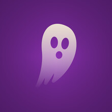 Halloween Transparent White Ghost Flying With Purple Background Illustration