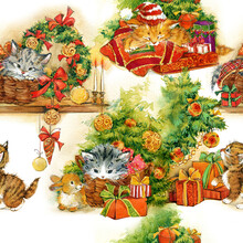 Cute Kitten. Watercolor Christmas Pattern. Winter Holiday Watercolor Background. Greeting Illustration.