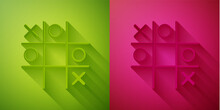 Paper Cut Tic Tac Toe Game Icon Isolated On Green And Pink Background. Paper Art Style. Vector.