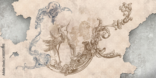 Murale ścienne  wall-mural-wallpaper-in-the-style-of-classic-baroque-modern-rococo-wall-mural-with-birds-and-patterned-background-light-delicate-photo-wallpaper-design
