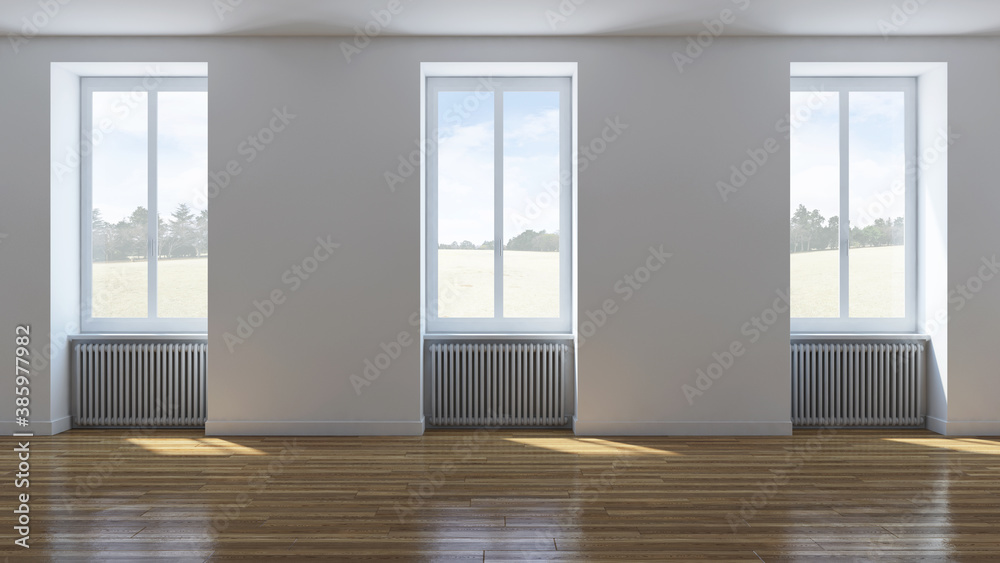 Fototapeta Large luxury modern minimal bright interiors room mockup illustration 3D rendering