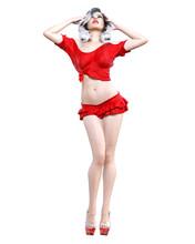 Beautiful Woman Red Short Mini Skirt.