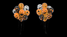3d Render Bunch Of Balloons With Halloween Texture On Black Background