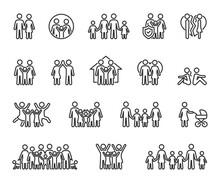 Vector Set Of Family Line Icons. Contains Icons Couple In Love, Large Family, Divorce, Quarrel, Happy Family, Big Family And More. Pixel Perfect.