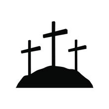 Calvary Crosses, Christianity Religion Symbol. Flat Black Vector Illustration On White Background.