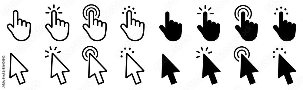 Fototapeta Mouse click cursor set. Hand Cursor. Click icon. Mouse pointer set. Arrow cursor. Vector illustration