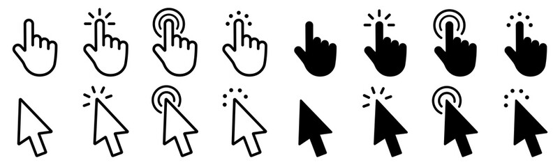 Mouse click cursor set. Hand Cursor. Click icon. Mouse pointer set. Arrow cursor. Vector illustration