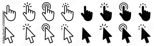Fototapeta Mouse click cursor set. Hand Cursor. Click icon. Mouse pointer set. Arrow cursor. Vector illustration obraz