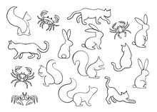 Animal Set. Collection Of Blac...