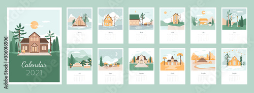 Calendar 2021 design concept with cozy houses and landscapes Fotobehang