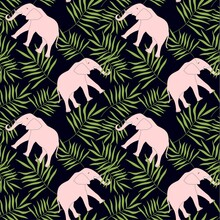 Elephant Leaves Seamless Pattern. Pink Animal Green Leaves Pattern On Black Pattern For Fabric Print, For Print, For Print
