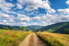 Mountain Dirt Road At Sunny Bright Day In Summer. Colorful Landscape With Road, Green Grass, Purple Flowers, Mountains With Forest, Blue Sky With Clouds At Sunset. Trail On The Hill. Travel And Nature