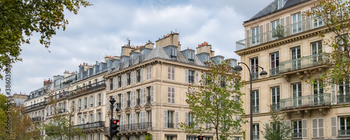Paris, typical buildings in the Marais, in the center of the french capital Fotobehang