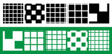 Simple, Plain Squares Repeatable, Seamless Background, Pattern Set. Squares Checkered, Chequered Background Set Illustration. Grid, Mesh, Chequr Lattice, Grating Vector