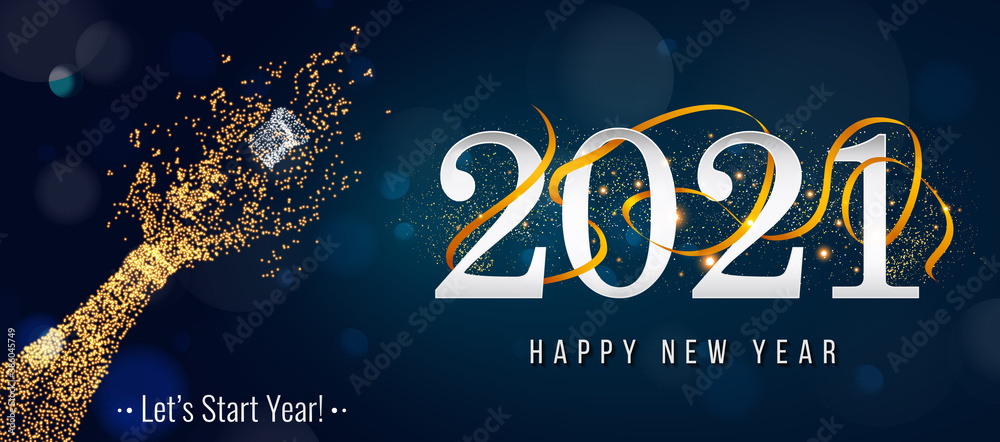 Fototapeta 2021 New Year. 2021 Happy New Year greeting card. 2021 Happy New Year background. 2021 Happy New Year background with gold glitter champagne bottle.