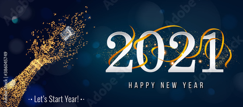 Obraz 2021 New Year. 2021 Happy New Year greeting card. 2021 Happy New Year background. 2021 Happy New Year background with gold glitter champagne bottle. - fototapety do salonu