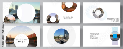 Obraz Vector layout of the presentation slides design business templates, multipurpose template for presentation brochure, cover. Background template with rounds, circles for IT, technology. Minimal style. - fototapety do salonu