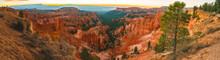 Sunrise Over Bryce Canyon Panoramic View, Beautiful Fall Season