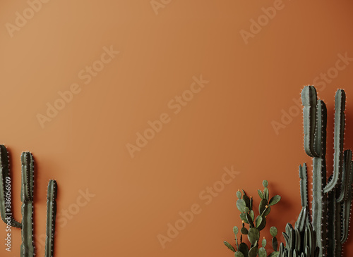 Fotografie, Obraz Cactus plant background, trendy orange minimal background with cactus plant