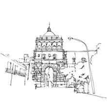 Drawing Sketch Illustration Of Porto Nuovo In Palermo, Sicily
