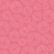 Vector Monochrome Dark Pink Touch Me Not Shameplant Floral Fluff Balls Seamless Pattern. Perfect For Fabric, Scrapbooking And Wallpaper Projects.