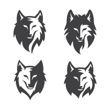 Simple Wolf Head Line Art Vector Illustration