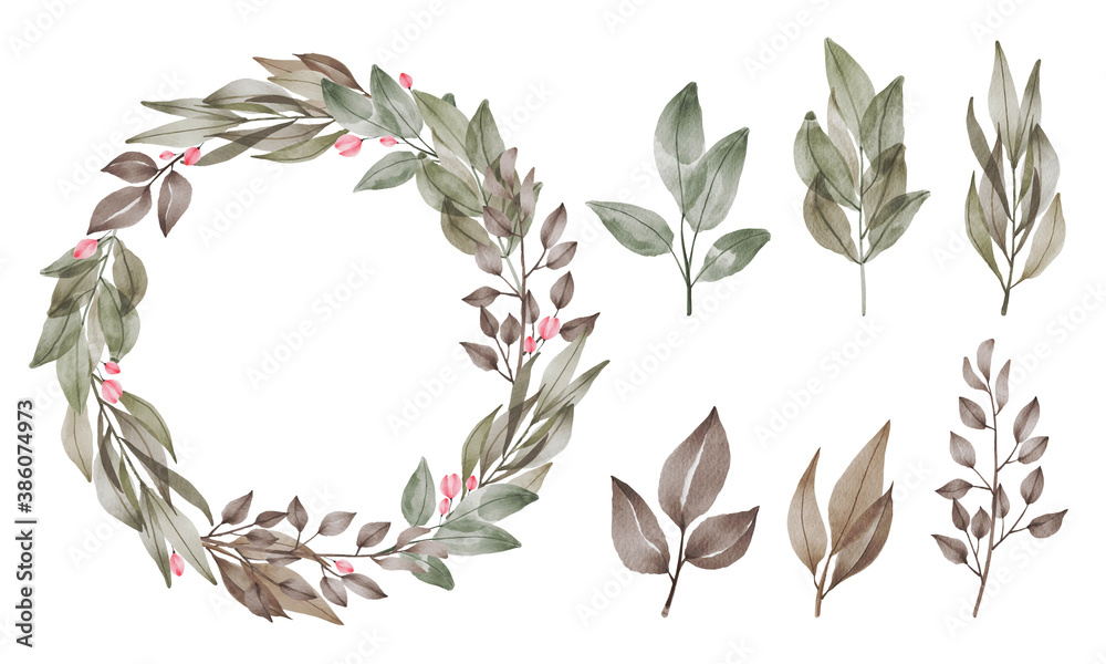 Fototapeta laurel wreath isolated on white background. Circle made with leafs white background illustration background. Different leaves style