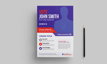 Political Election Flyer Template & Poster Blue Layout
