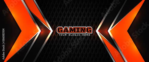 Obraz Futuristic orange and black abstract gaming banner design template with metal technology concept. Vector layout for business corporate promotion, game header social media, live streaming background - fototapety do salonu