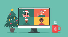 Group Of People In Winter Costumes Meeting Online Together Via Video Conference On A Computer To Virtual Discussion On Christmas Holiday And Decorate With Christmas Tree, Cup, Vector Flat Illustration